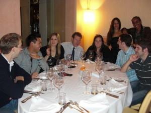 The Team enjoy a nice dinner out