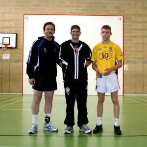 The Challenger finalists Dean Corrigan (eventual winner) and Niall McCann with co-organiser Dan Grant