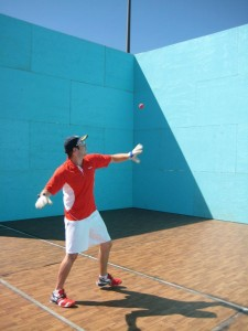 On my way to winning the 3-wall C small ball singles (say that in one breath!)