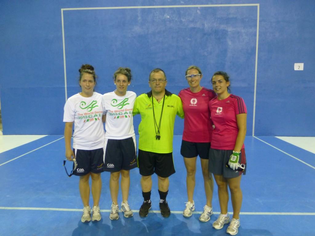 Tessa and Kathleen with the Irish team.