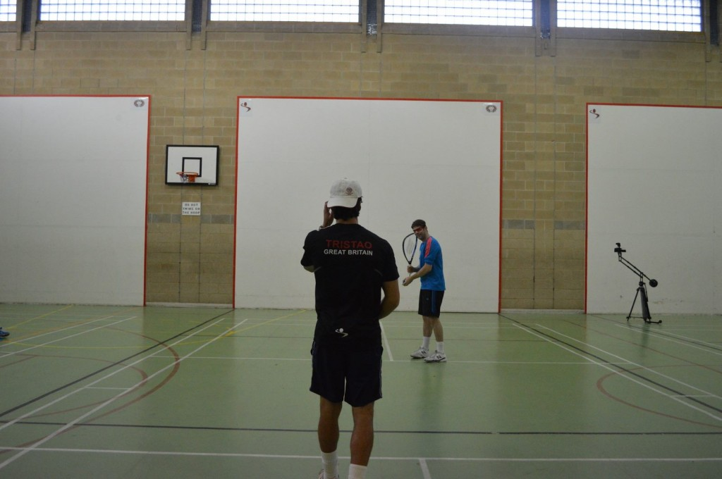 Tristao and Grant demo the great new sport of 1-wall racquetball. A new layer of versatility to the walls!