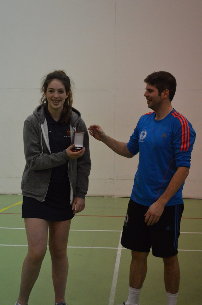 Eleanor Barrett receives her runner-up medal in the u18s after playing her first ever day of Wallball