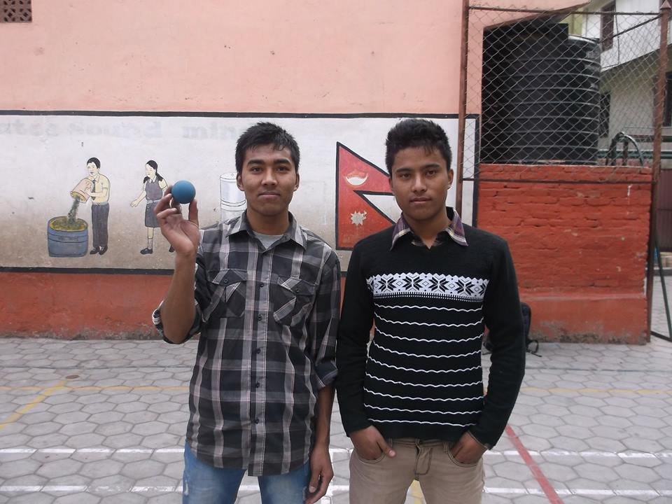 Two of the first ever wallball players from Nepal