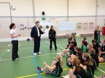 Dick & Sarah teach the girls all about wallball